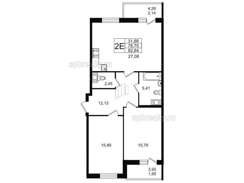 Планировка Двухкомнатная квартира площадью 82.84 кв.м в ЖК «YOUПитер»