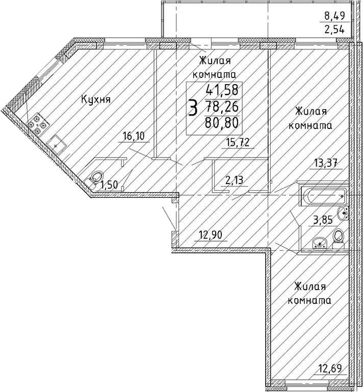 Планировка Трёхкомнатная квартира площадью 86.73 кв.м в ЖК «YOUПитер»