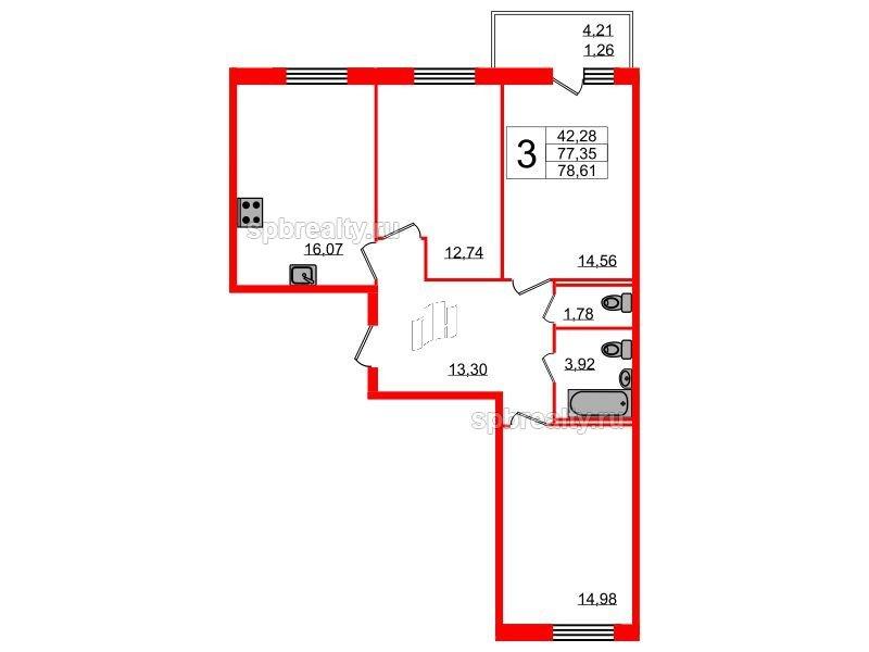 Планировка Трёхкомнатная квартира площадью 78.61 кв.м в ЖК «YOUПитер»
