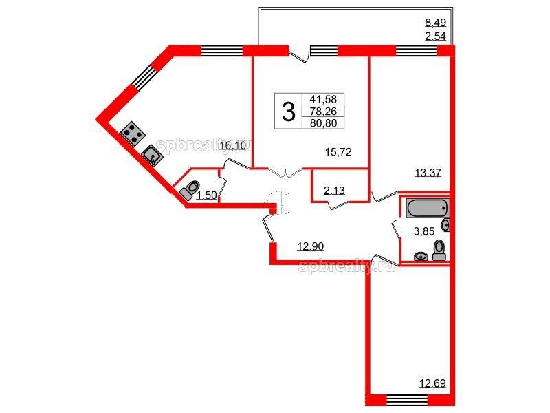 Планировка Трёхкомнатная квартира площадью 80.8 кв.м в ЖК «YOUПитер»