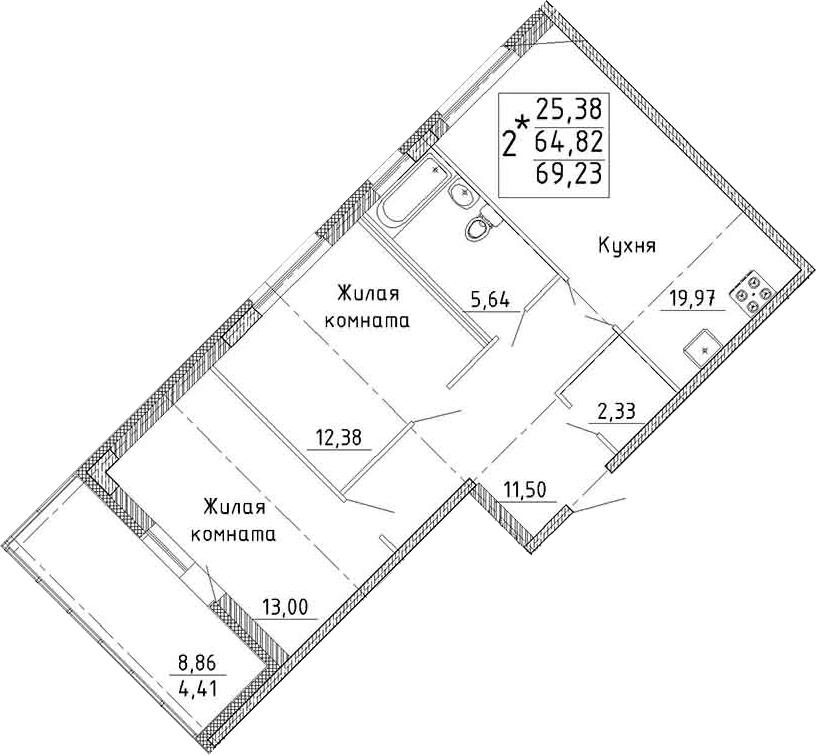 Планировка Двухкомнатная квартира площадью 73.64 кв.м в ЖК «YOUПитер»