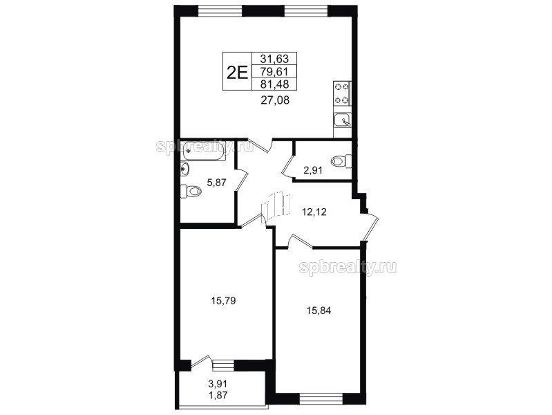 Планировка Двухкомнатная квартира площадью 81.48 кв.м в ЖК «YOUПитер»