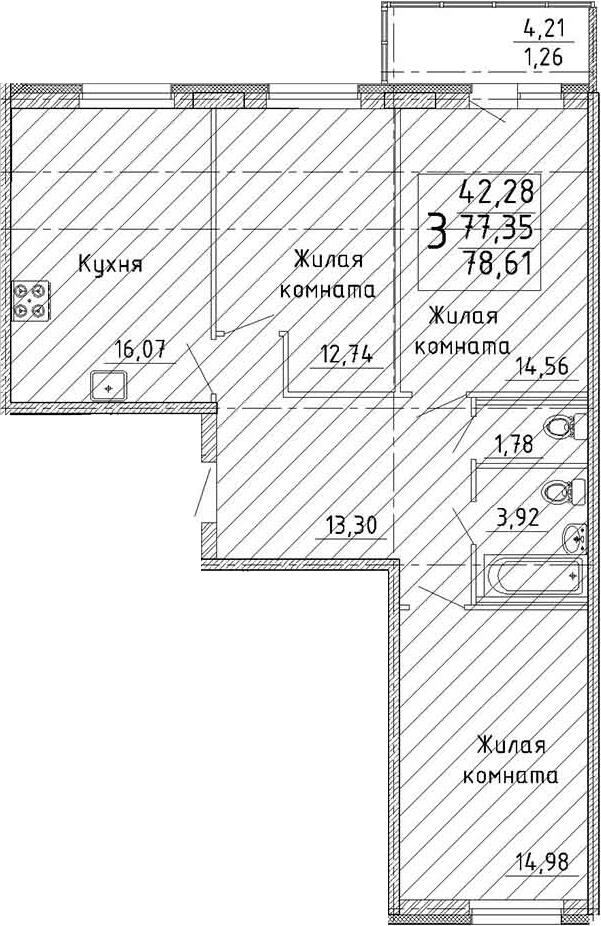 Планировка Трёхкомнатная квартира площадью 81.55 кв.м в ЖК «YOUПитер»