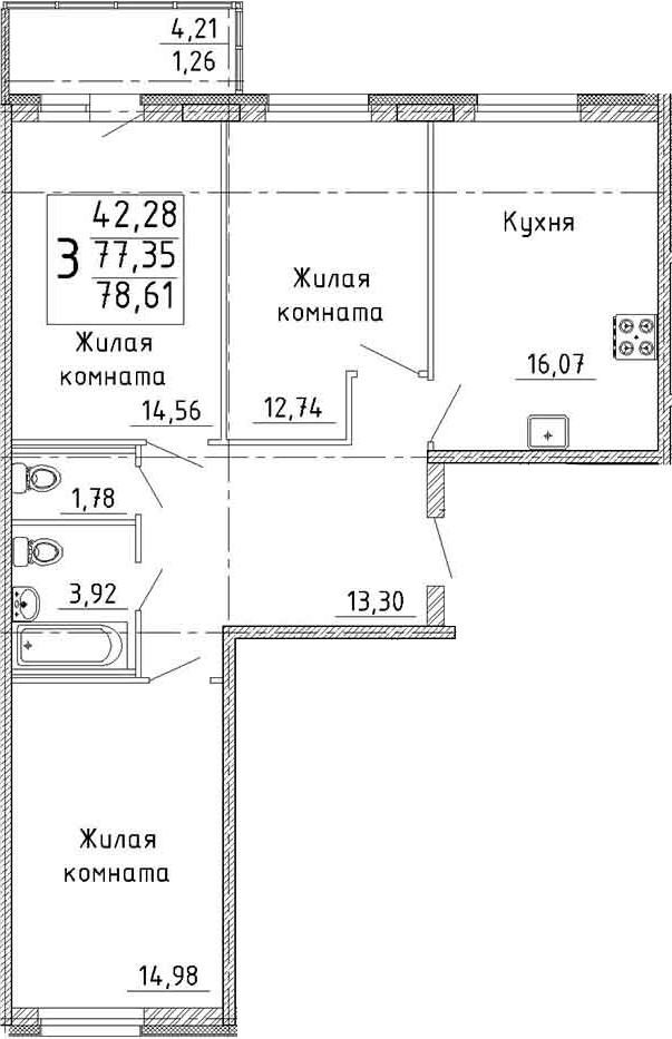 Планировка Трёхкомнатная квартира площадью 79.87 кв.м в ЖК «YOUПитер»