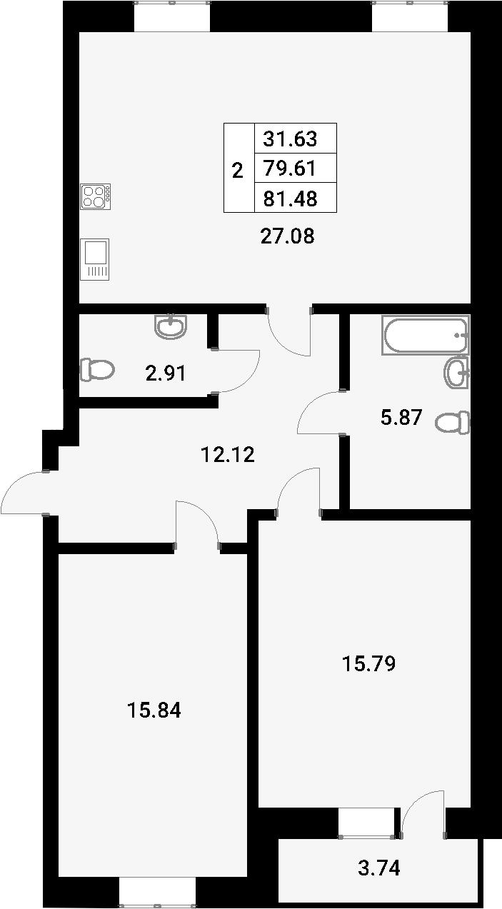 Планировка Двухкомнатная квартира площадью 83.35 кв.м в ЖК «YOUПитер»